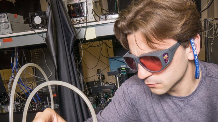 Jake Zappala '12 in the physics lab.