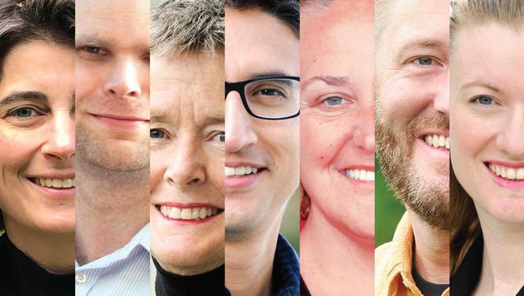 L-R Janelle Schwartz, Peter Simon, Ella Gant, Jose Ceniceros, Katharine Kuharic, Branden Stone, and Viva Horowitz