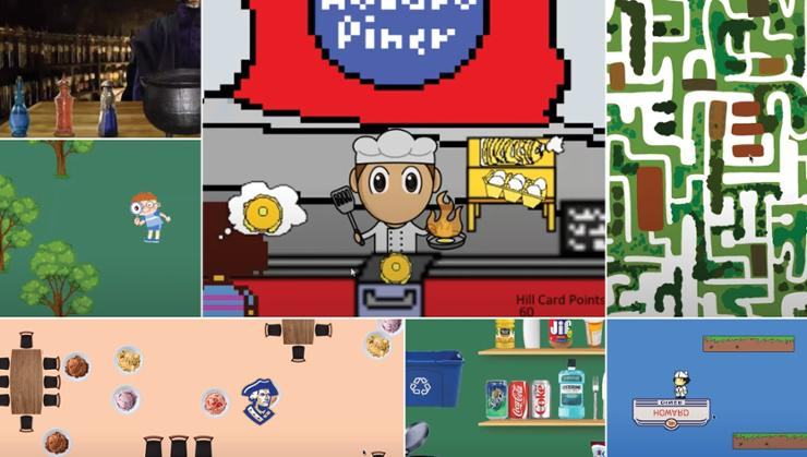 Illustrations from the Summer of Coding video games.
