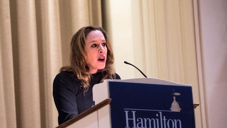 Wall Street Journal columnist Kim Strassel speaks in Hamilton's Chapel.