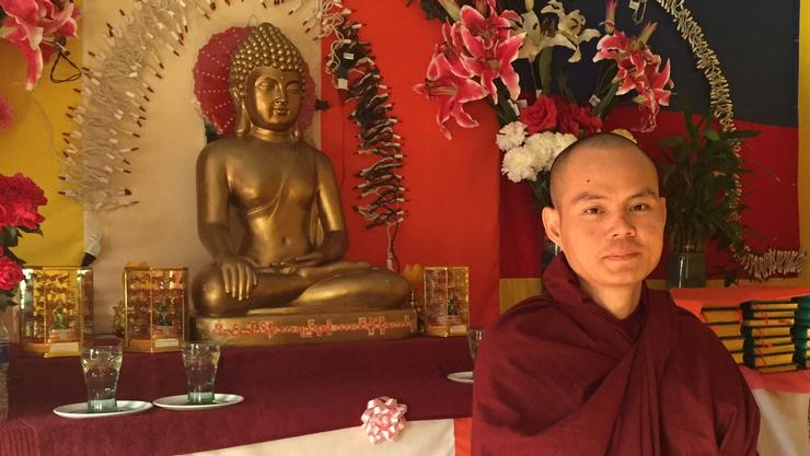 Utica's Nandamala Buddhist temple in Utica with monk Ko Salla