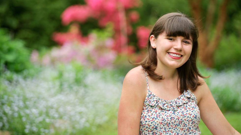 Anna Paikert '13 in Hamilton's Grant Garden.