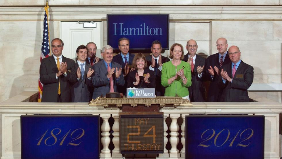 Hamilton College visits the New York Stock Exchange (NYSE) and rings the NYSE Closing Bell to celebrate the college's 200th anniversary.