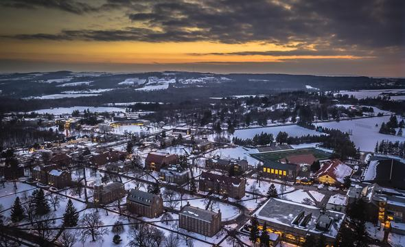 Winter campus aerial