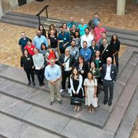 Hamilton's new faculty for 2019-20 and orientation leaders, as shot from a drone.