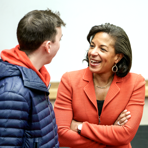Susan Rice with a student