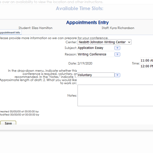 Appointments Entry
