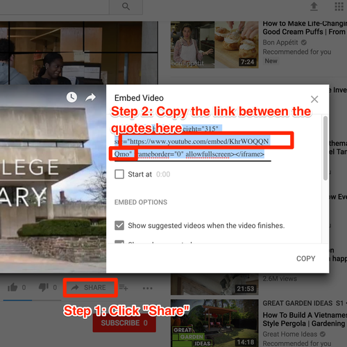 Youtube Embed Instructions
