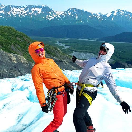 Olivia Holbrook '23 and Meg Manning '21 on Exit Glacier for an ice climb