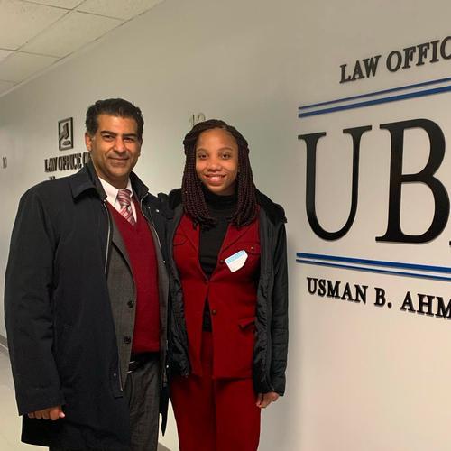 Eve Belizaire '21 and Usman Ahmad '86