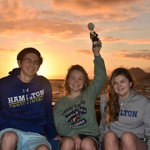L-R Skylar Havens, Kayley Boddy and Sam Wilkerson with Alex on Nevis