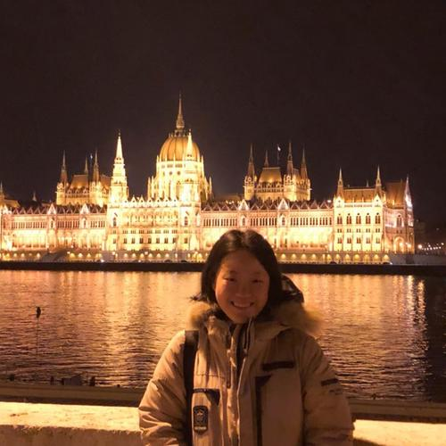 Jiin Jeong '21 in front of Parliament on the Danube