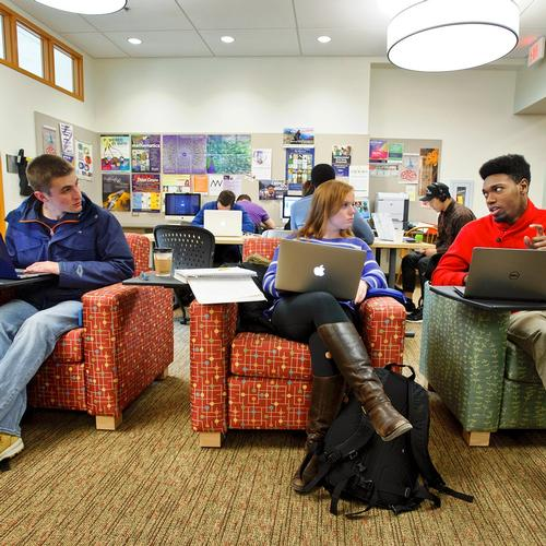 Students study in the Math Center in Christian Johnson