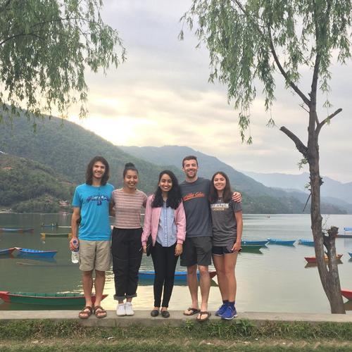 Pokhara native, Sanju Koirala '19, met up with the Himalayan hikers (L-R)  Jack Gumina, Urbana Anam, Koirala, Matt Casadei, Alex Hendry) in Pokhara