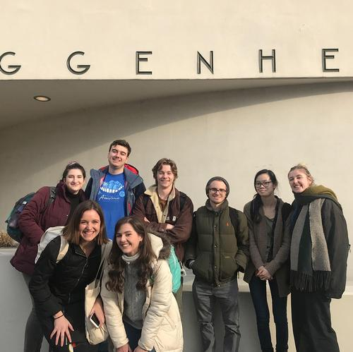 Religious studies students at Guggenheim, spring 2019