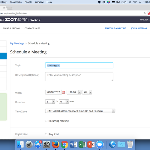 Scheduling a Zoom Meeting, Page One