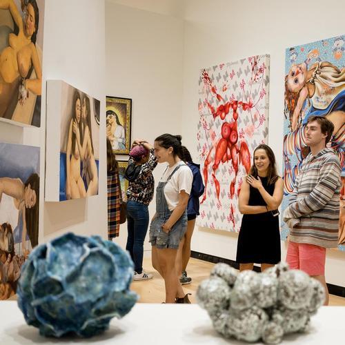 Visitors View Senior Art Show