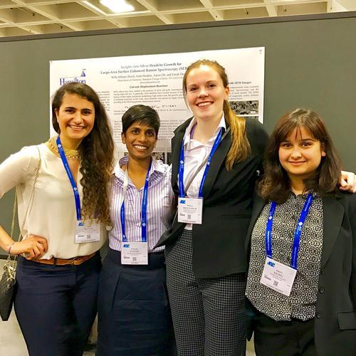 Aida Shadrav '17, Professor Farah Dawood, Willa Mihalyi-Koch '19, Priti Kharel '18-ACS Meeting April 2017