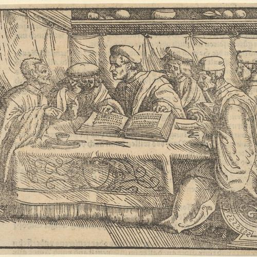 Six Scholars Sitting Around a Table