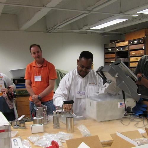 Instructor Eric Smith demonstrates a cryogenic (or freezer) mill