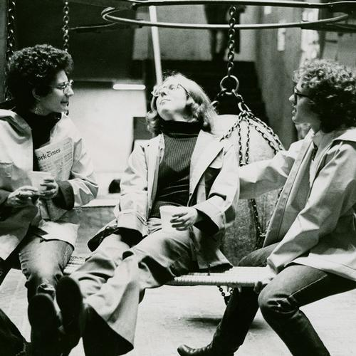 Hanging at the rock swing at Alumnae Weekend in Fall 1976
