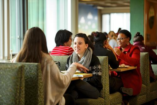 Students eating in McEwen