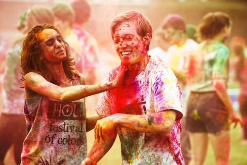 Students celebrate Holi