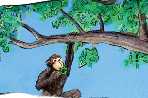 Life lessons illustration - infinite monkey theorem
