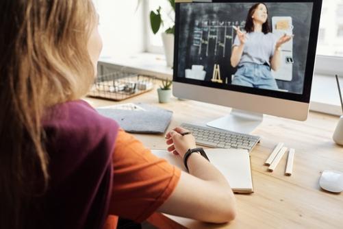 Girl watching screen