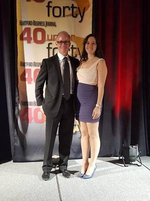 Stephanie Bealing '04 and her father at the awards ceremony for Hartford Business Journal's 40 Under 40