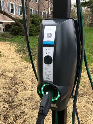 An electric car charging station on campus.