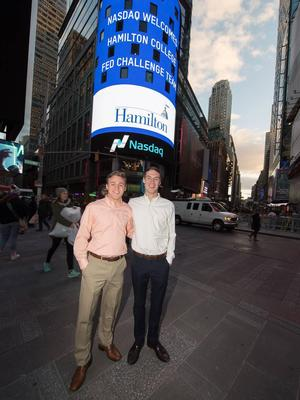 Jake Menges '17 and Chandler Elwyn '17 in Times Square