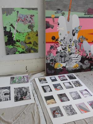 Jane Fine's work in progress.