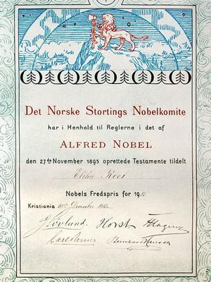 Elihu Root Peace Prize Citation