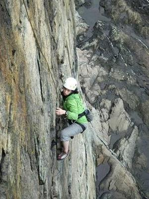 Gaby Pilson '17 climbing at Acadia National Park in Maine on a Hamilton Outing Club trip earlier this year.