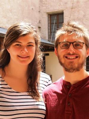 Researchers UNC student Mackenzie Nelsen and Jared Belsky '19
