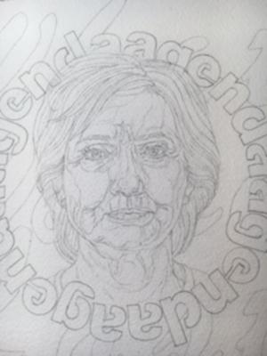 Professor Katharine Kuharic's preparatory drawing for a prospective presidential portrait, part of <em>What Women Lost</em> at P.P.O.W Gallery.