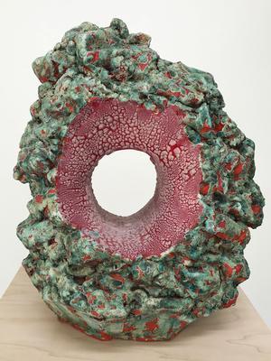 Rebecca Murtaugh's <em>Paddle and Burrow: Lichen and Lizard</em>, ceramic, 12
