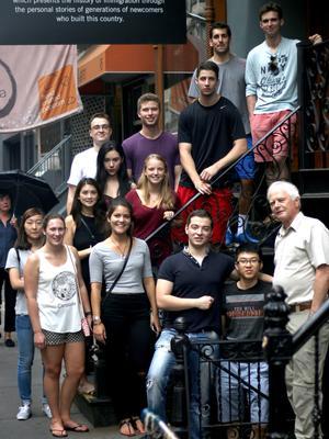 New York City Program students and Professor Derek Jones at the Tenement Museum.