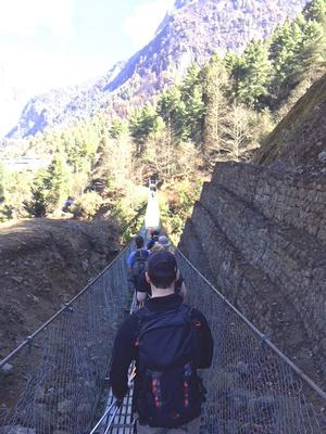 One of the several suspension bridges on the path from Lukla to Phakding