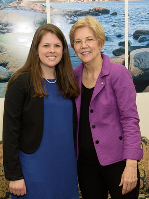Louisa Stone '17 with U.S. Sen. Elizabeth Warren (Mass.)