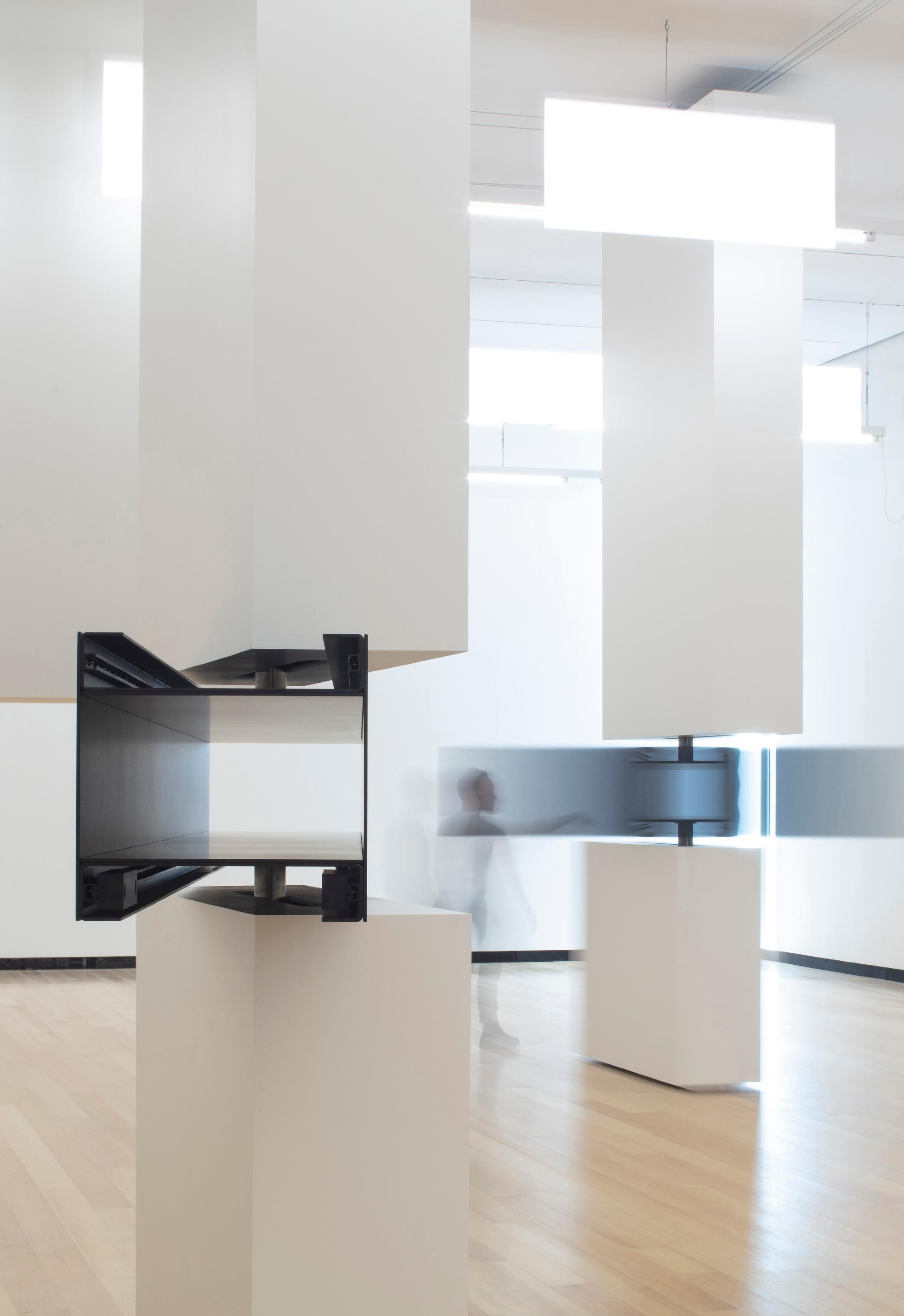 Sarah Oppenheimer: aluminum, steel, timing belts and existing architecture.