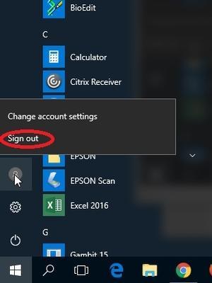 Windows 10 Logout