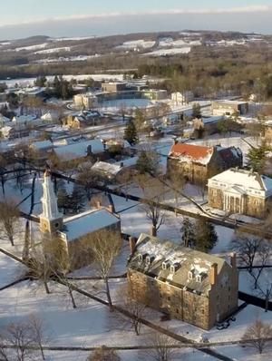 Aerial view of campus in the winter.