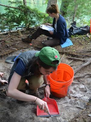 In front, Lindsay Buff '17 at work at the Slocan Narrows Archaeological Project during Hamilton's summer field school
