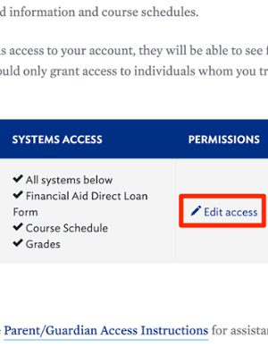 Parent Access: Student Grant Access Home Screen Edit Access Annotated No Add Link