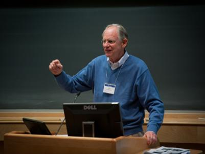 Mike Castle '61 addresses an Alumni College session, A Life in Politics, during 2011 Reunion Weekend.