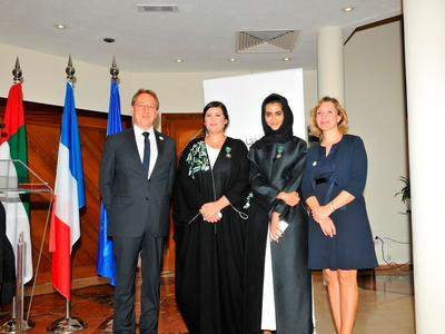 The Ambassador of France to the UAE, Ludovic Pouille (left) with Manal Ataya (left middle) and Hissa Al Dhaheri (right middle)