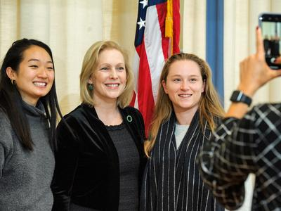 Kirsten Gillibrand, Joyce Lee '20, and Mary Kate McNeil '20