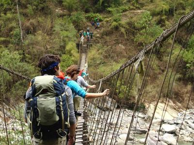 Over a suspension bridge toward the base camp
